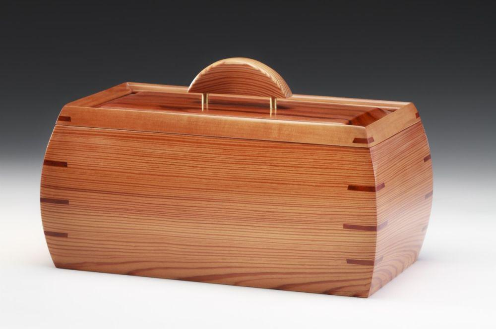 Reclaimed Heart Pine Box with Goncalo Alves Top