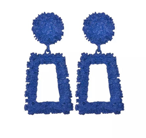 Blue Geometric Dangle Earring