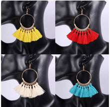 Load image into Gallery viewer, GREEN BOHEMIAN TASSEL EARRING
