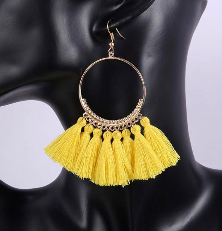 YELLOW BOHEMIAN TASSEL EARRING