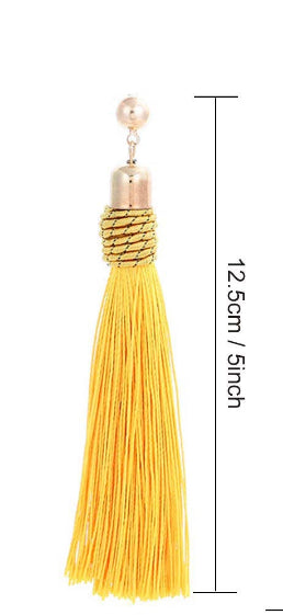YELLOW ROPE TASSEL EARRING