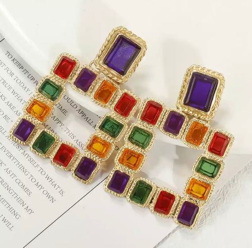 Multicolored Geometric Square Earrings