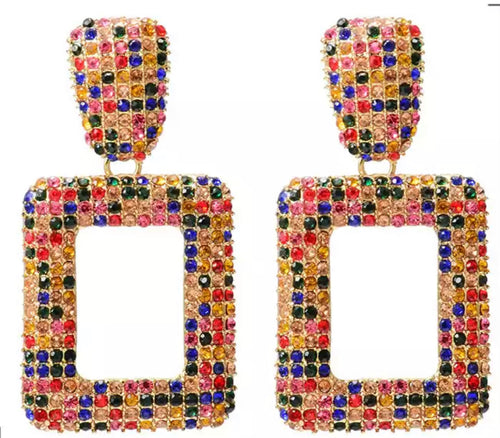 Colorful Square Crystal Dangle Earring
