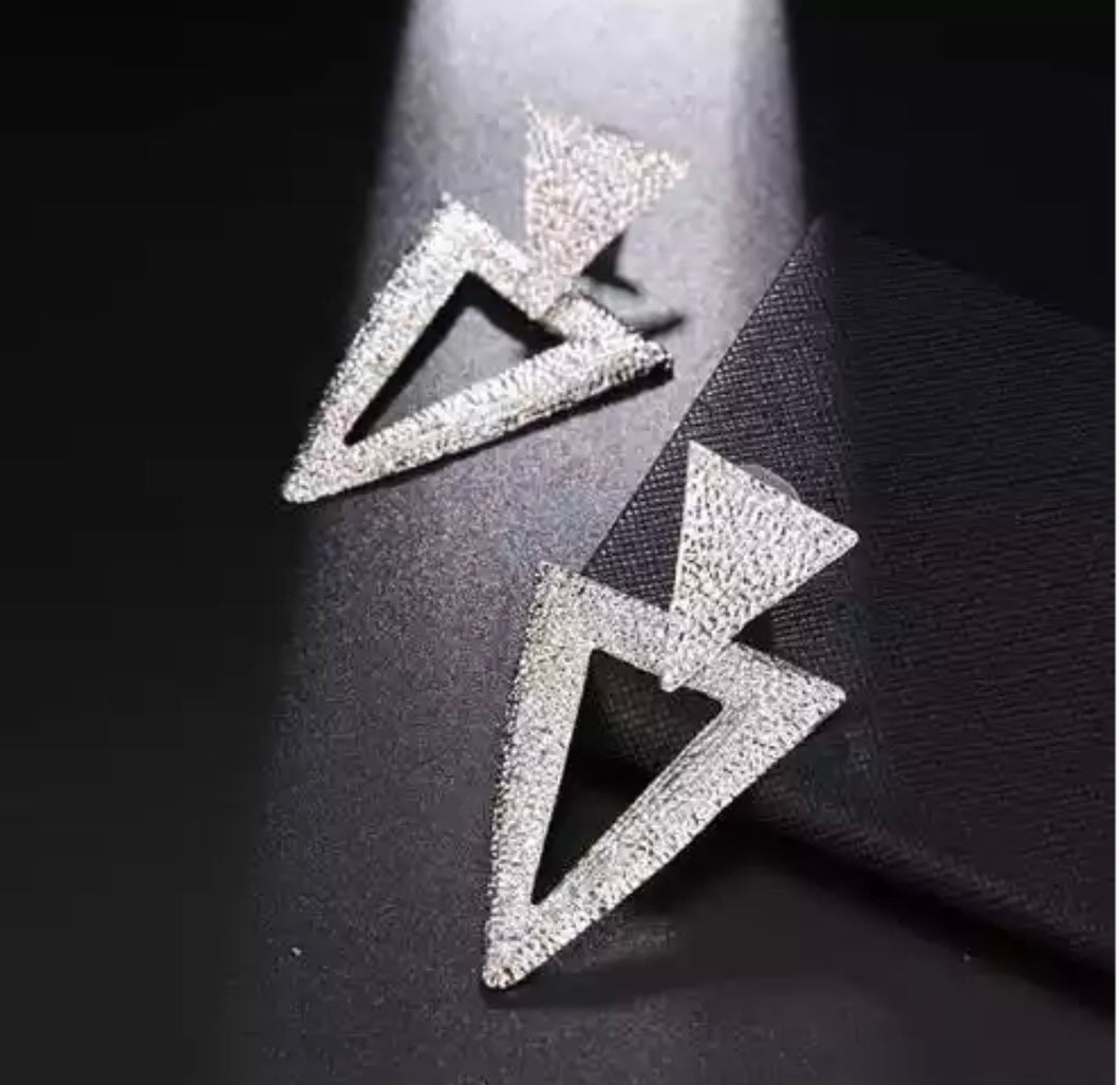 Silver Triangle Dangle Earring