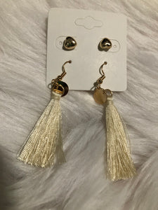 Gold and White Heart Tassel Set