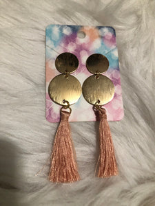 PINK-GOLD DROP EARRING