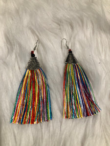 Long Muti-Colored Tassel Earring