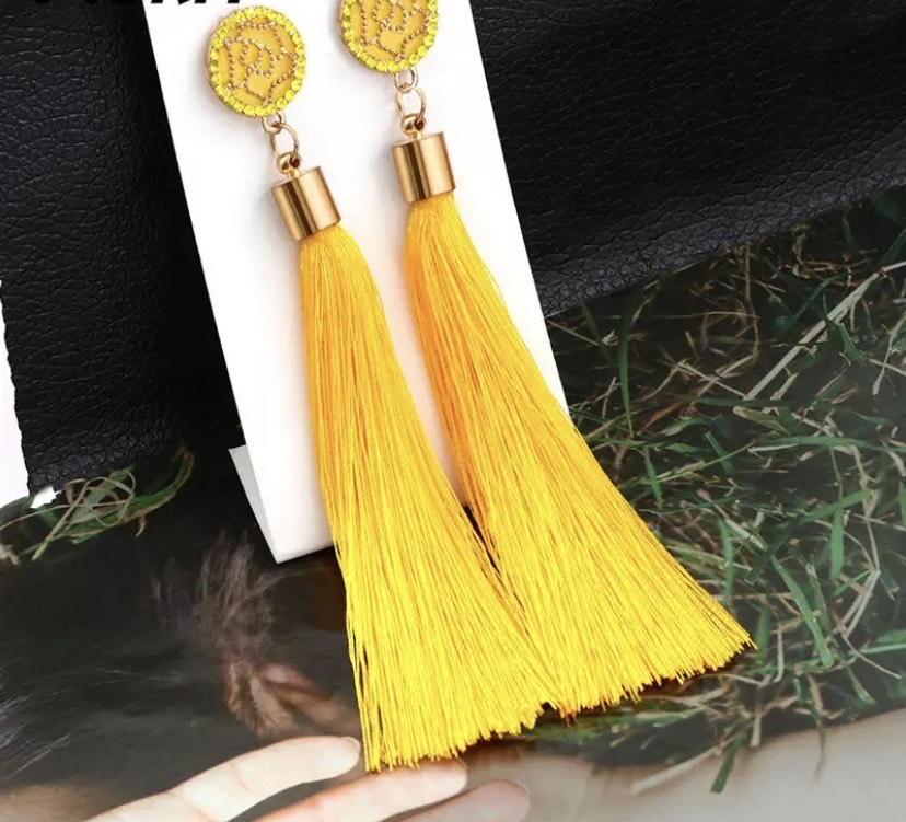 Bling Yellow Tassel Earring