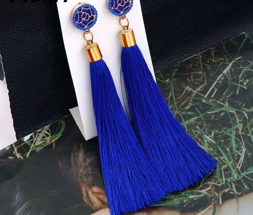 Bling Blue Tassel Earring