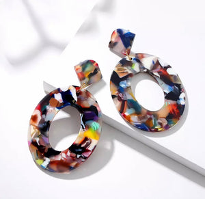 Multicolored Acrylic Circle Drop Earring