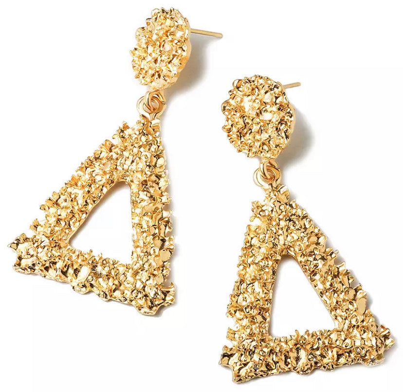 Gold Vintage Triangle Drop Earring