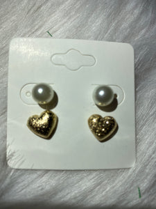 Fashion Pearl with Heart Stud 2pc set
