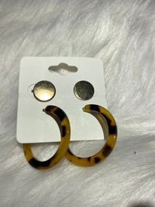 TIGER PRINT HOOP/GOLD 2PCS SET