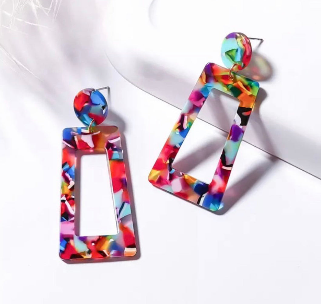 Multicolored Acrylic Drop Earring