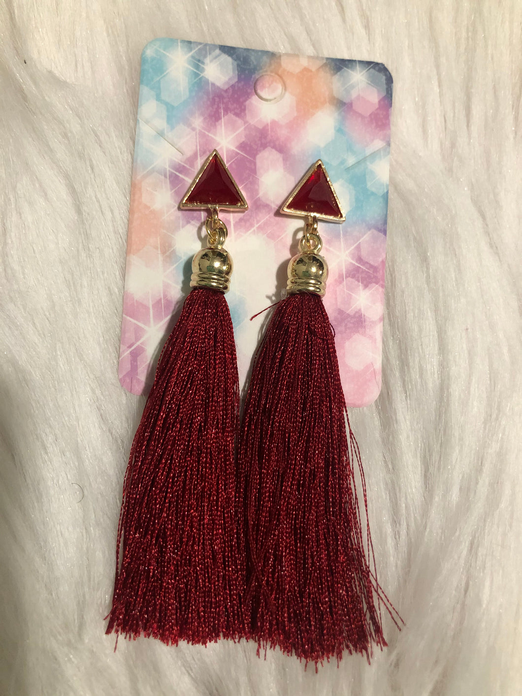Triangle Top Red Tassel Earring