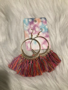 Pink Multicolored Bohemian Earring