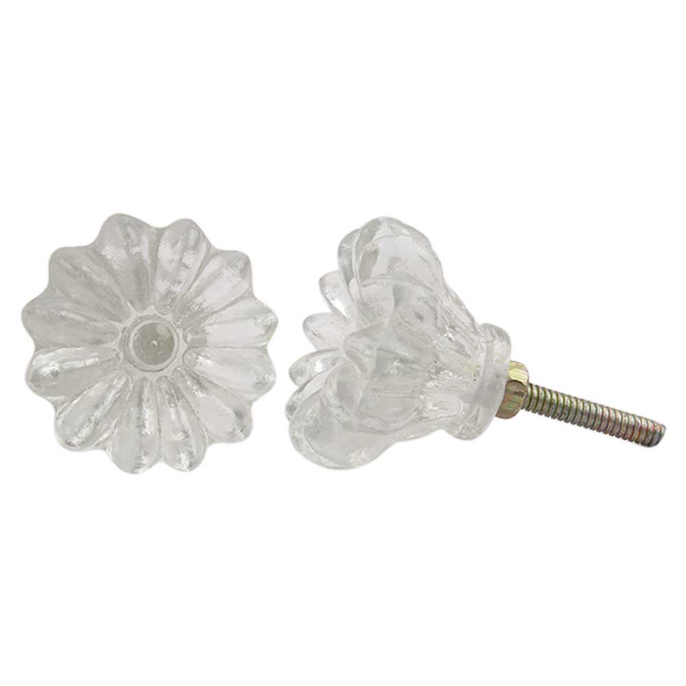 Clear Glass Sunflower Knob