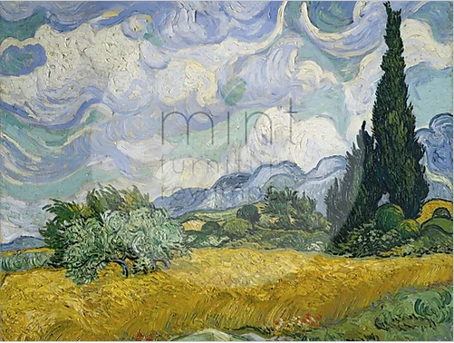 MINT Decoupage Papers - Wheat field with Cypresses