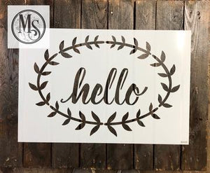 Hello with Laurel Wreath doormat stencil