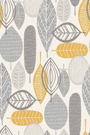 Scandi Malmo leaves wallpaper / metre