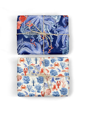 Octopus/Crustaceans double sIded giftwrap