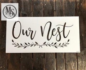Our Nest doormat stencil