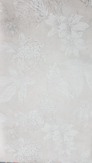 Wallpaper, linen and taupe floral / metre