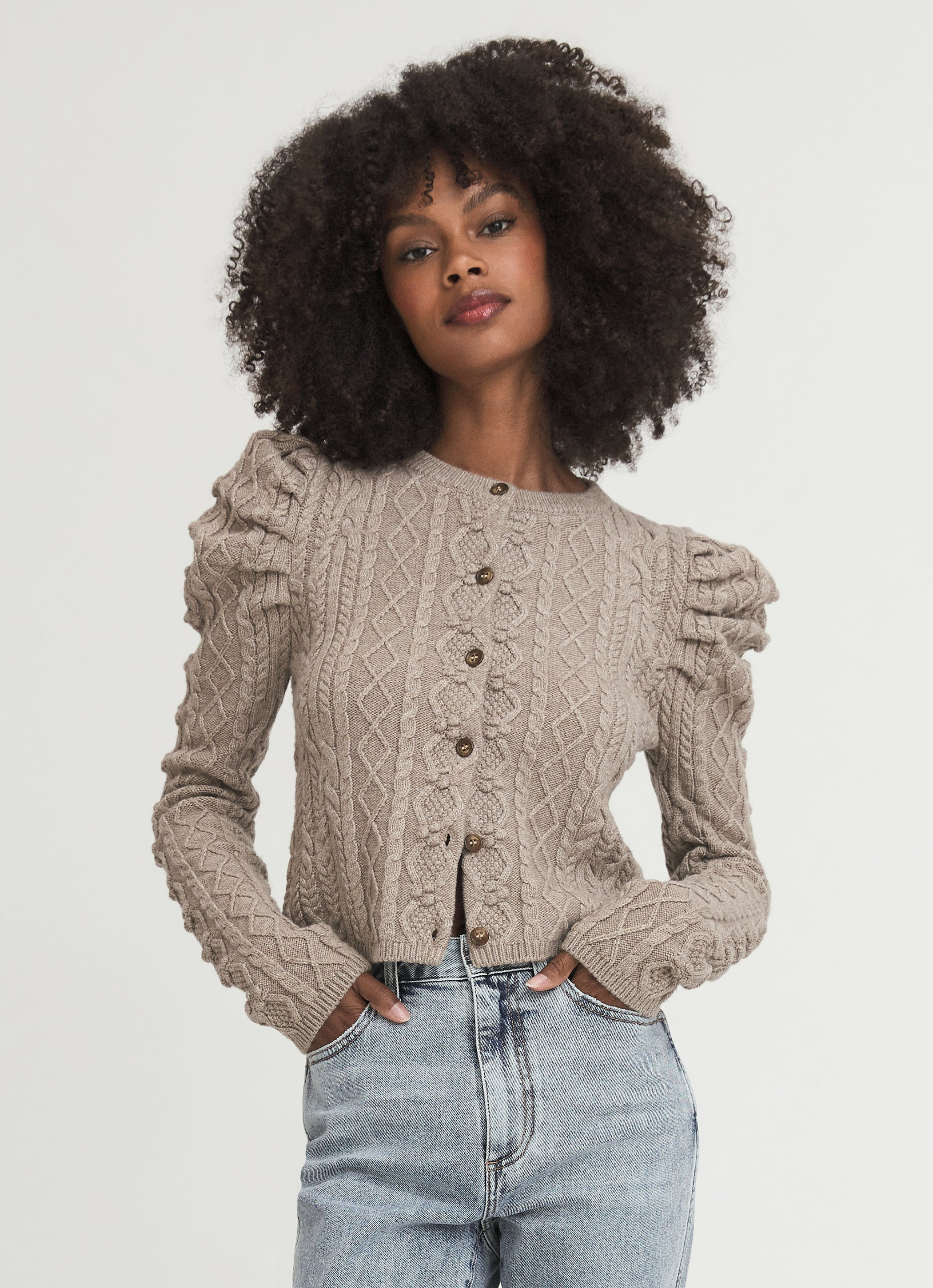 Something Navy Charlie Puff Shoulder Cable Knit Cardigan Camel