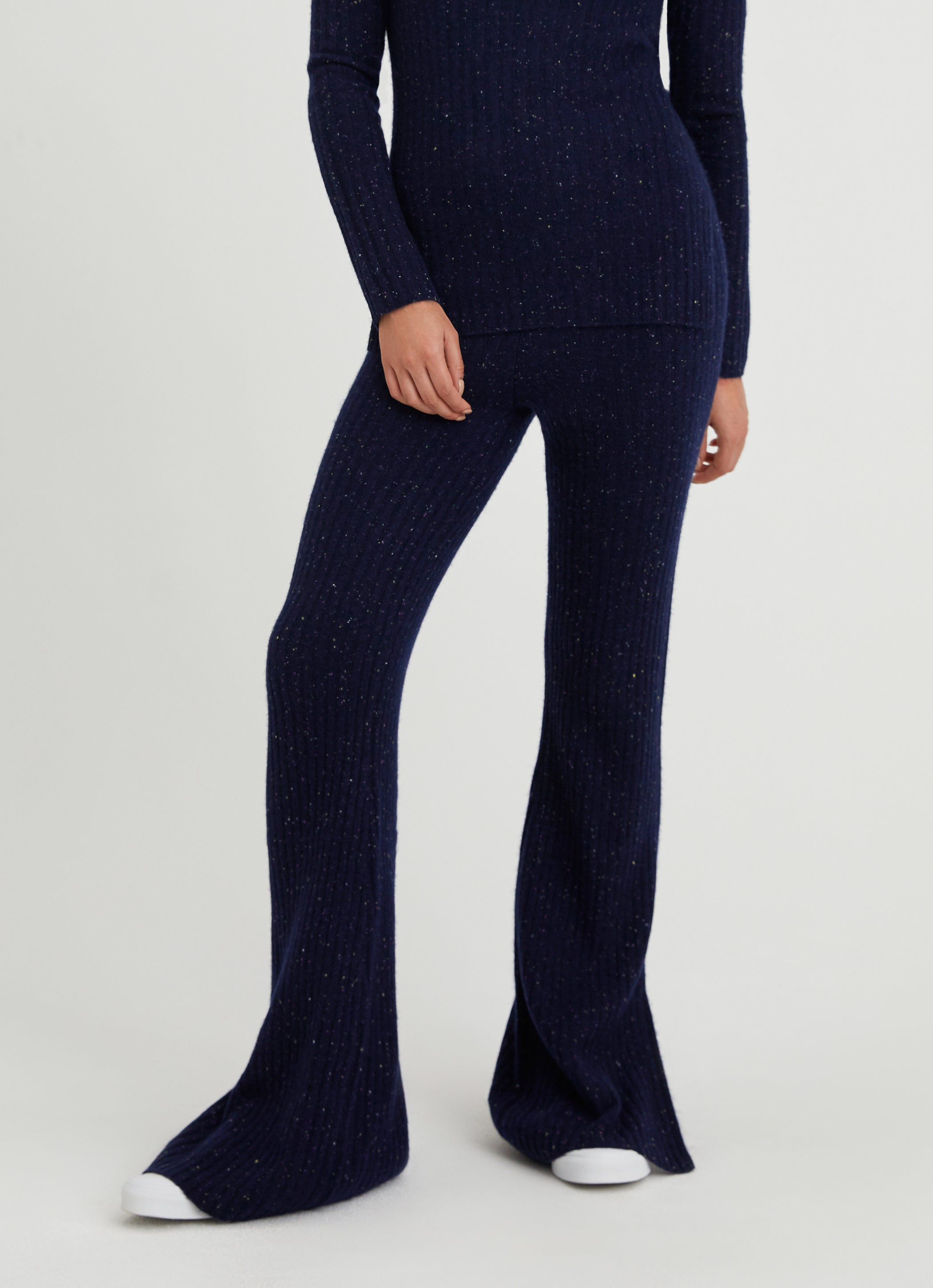 Something Navy Vivienne Cashmere Ribbed Pant with Slit Navy Donegal