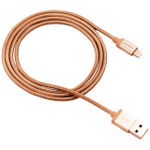 CANYON MFI-3 Charge & Sync MFI braided cable with metalic shell, USB to lightning, certified by Apple, 1m, 0.28mm, Golden - volkanoshop