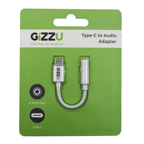 Gizzu USB-C to Audio Adapter - White - volkanoshop