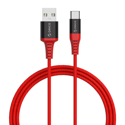 Orico Type-A to USB-C Aramid 1m Cable - Red - volkanoshop