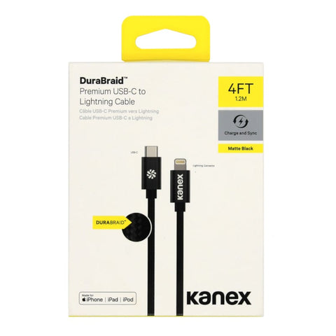 Kanex USB-C to Lightning 1.2m Durabraid Cable Black - volkanoshop