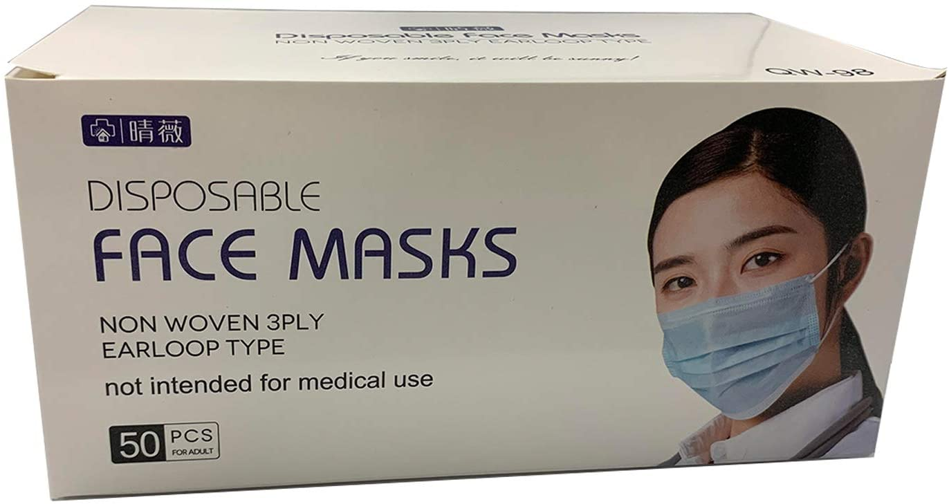 Comfortable 3PLY Non-Medical Face Mask with EarLoop - 50 Pack