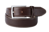 Fox Run full grain leather belt with white stitching