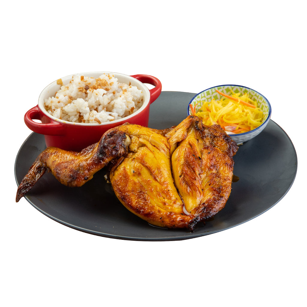 Spicy Barbecue Pechopak Inasal with Rice and Atchara-Chicken Deli