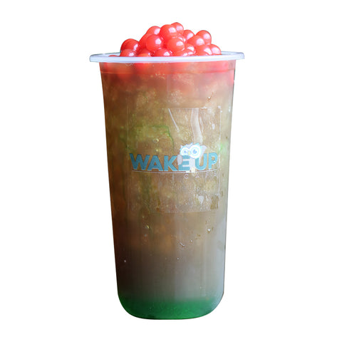 Green Apple Black Tea with Strawberry Boba - Wake Up Café