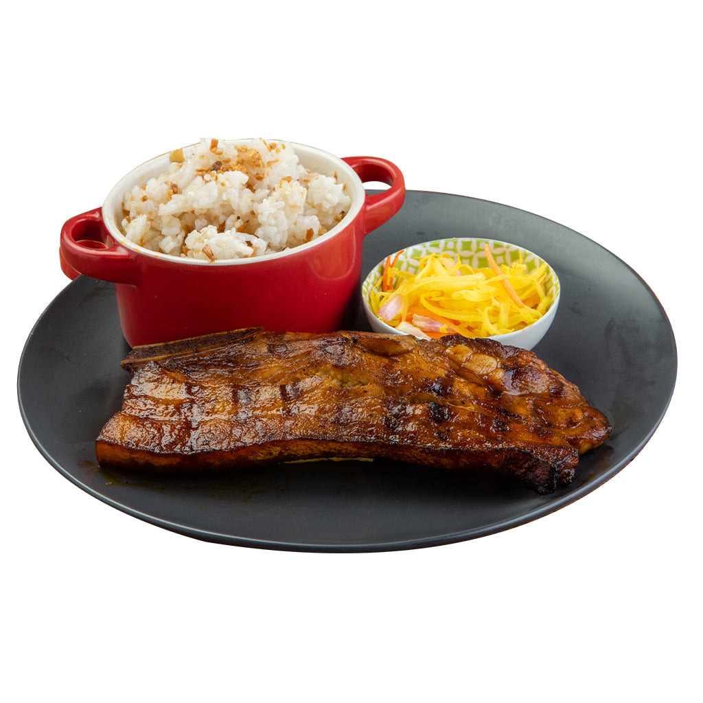 Char-grilled Pork Belly with Rice and Atchara-Chicken Deli