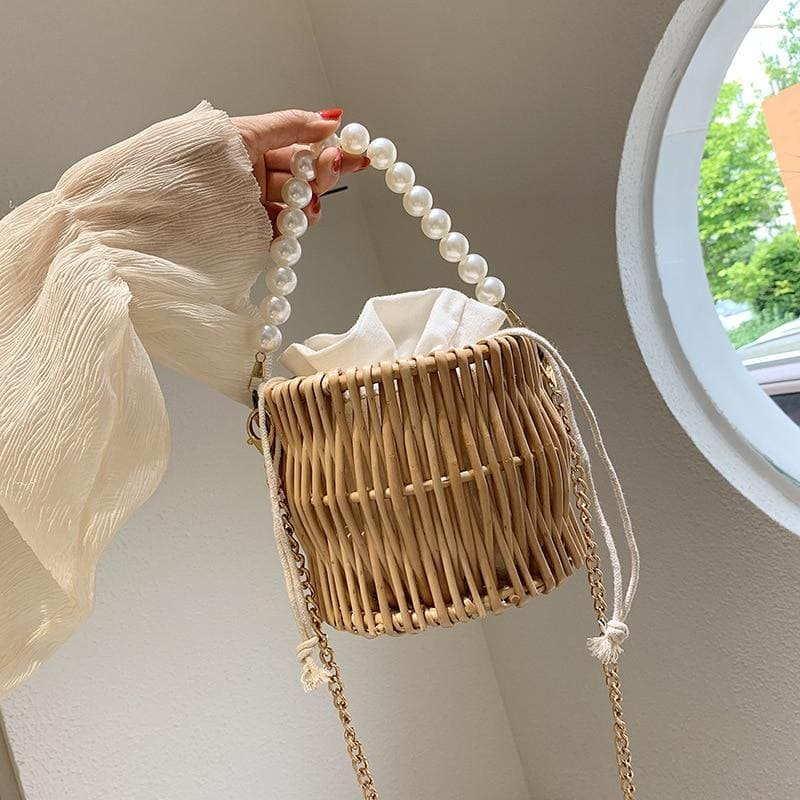 Sac Rond Paille <br>Little Rotin Perlée Selve