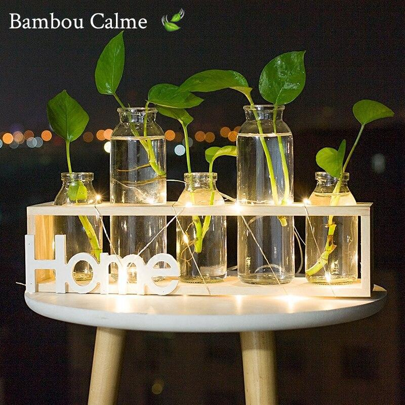 Support Home en Bois avec Vases MiniNord LED