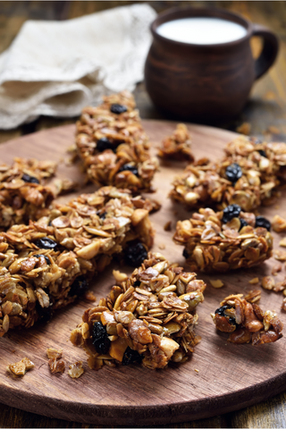 oat bars with milk and coffee
