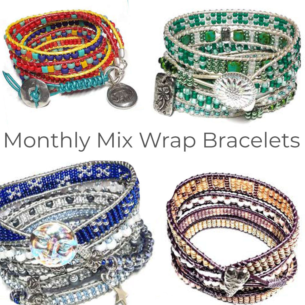 A Year of Monthly Mix Wrap Bracelets