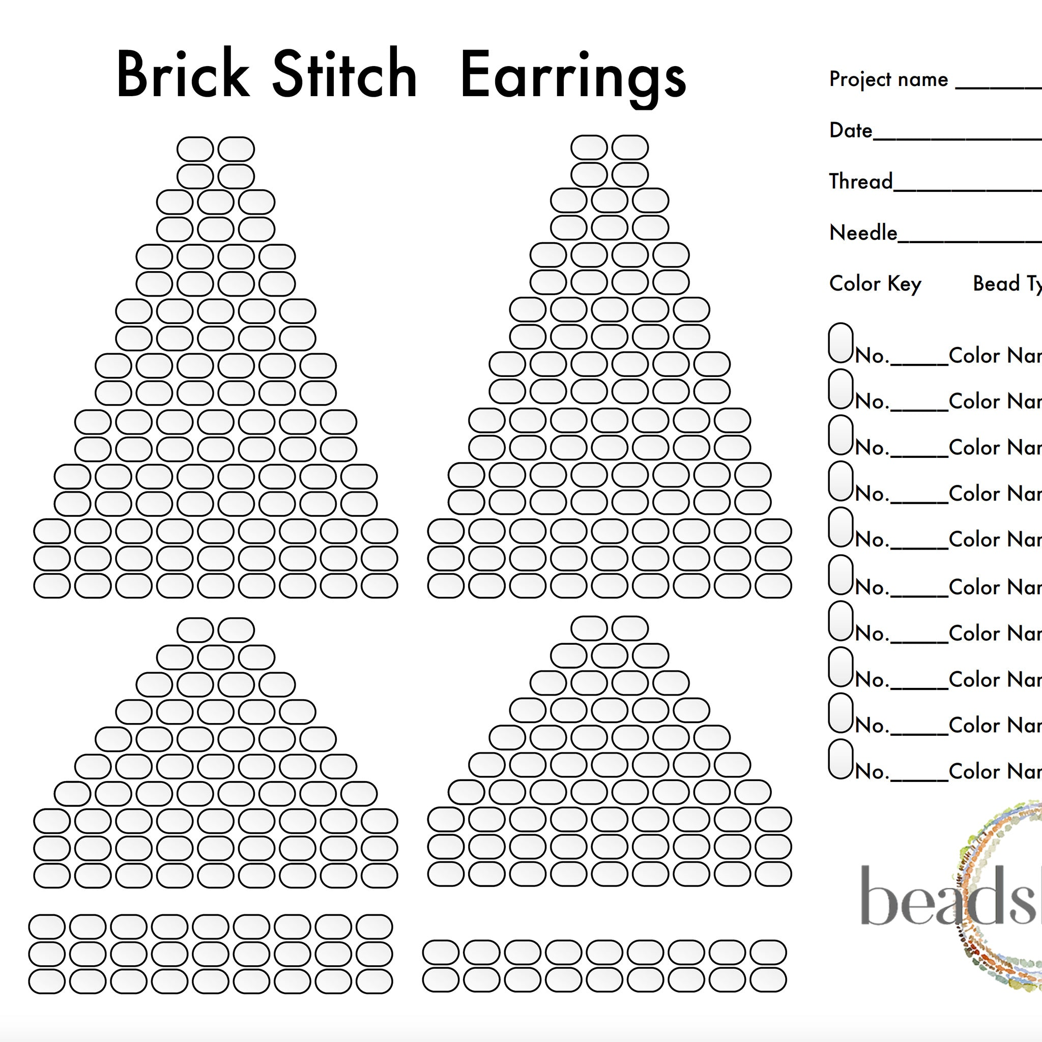 Brick Stitch Earrings Graph