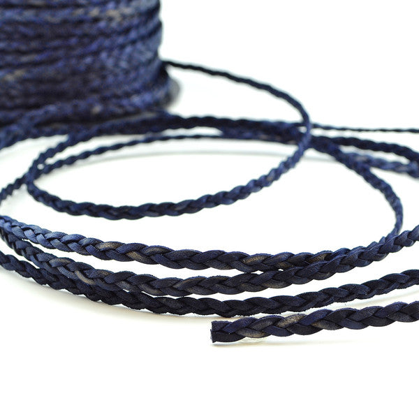 Distressed Denim- Braided Leather