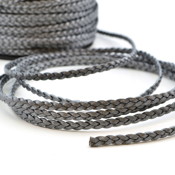 Metallic Gray- Braided Leather