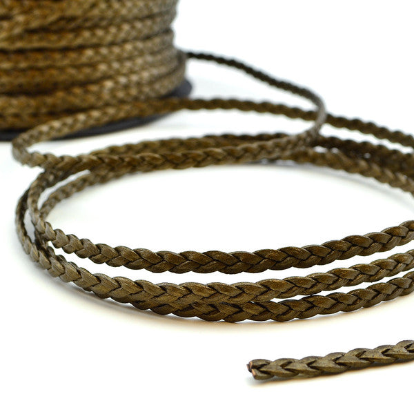 Metallic Pyrite Braided Leather