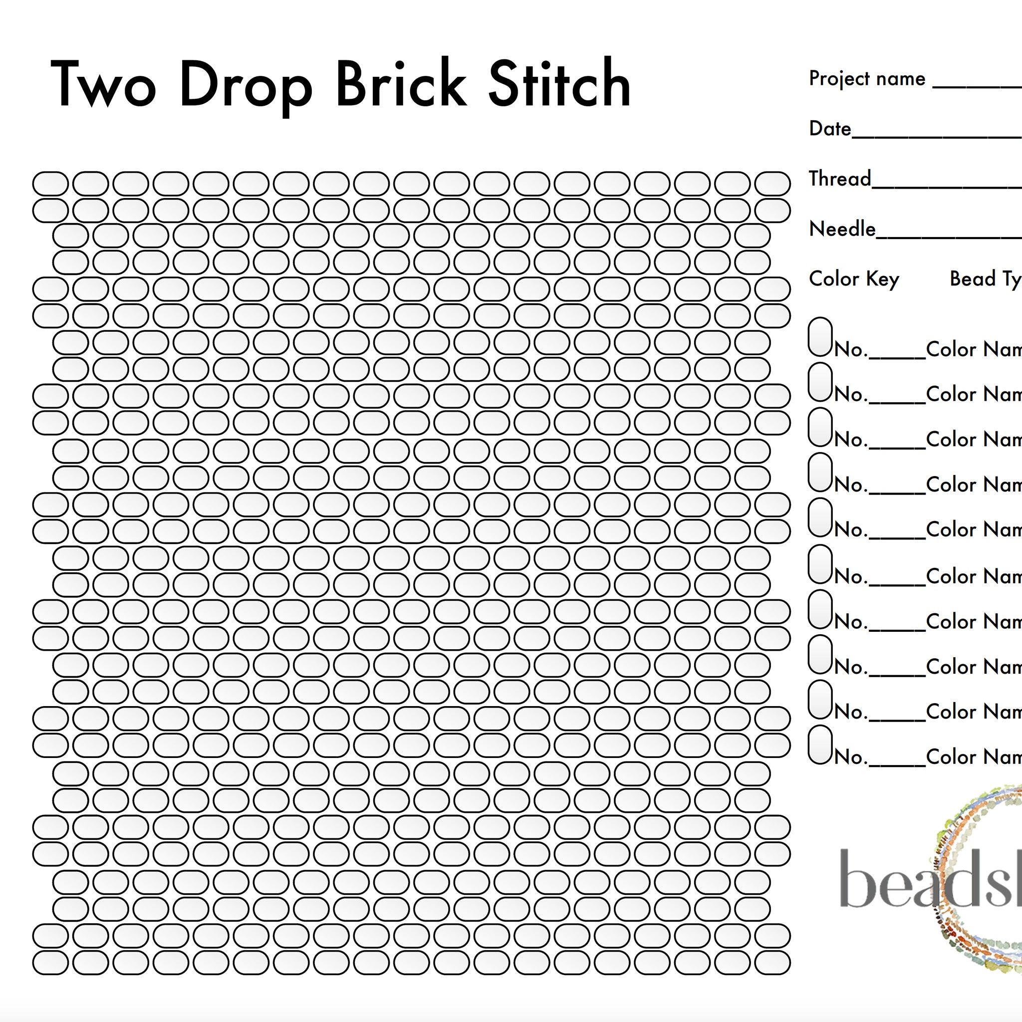 Two Drop Brick Stitch Graph