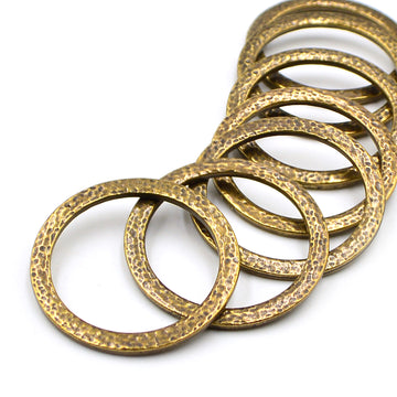 1.25 Inch Hammertone Ring- Antique Brass