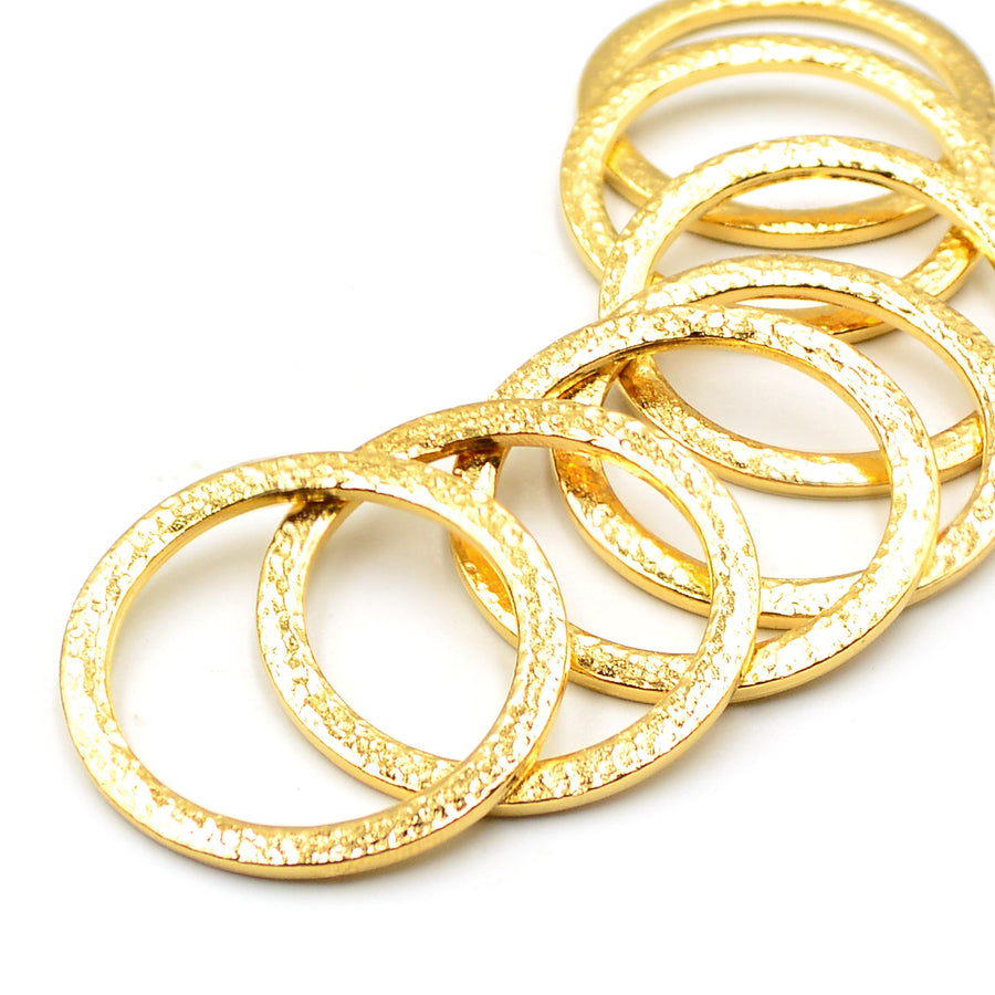 1.25 Inch Hammertone Ring- Gold