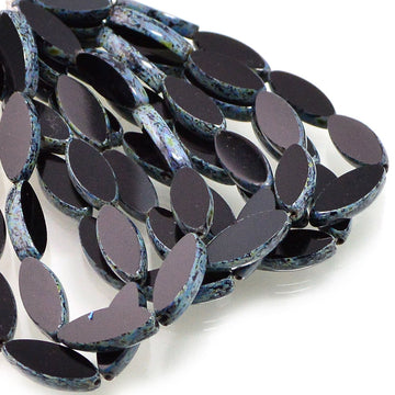 Spindle Beads- Black Picasso